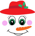 snowman girl face icon cute girl in red vector image vector image