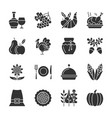 thanksgiving day black silhouette icon set vector image
