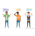 three modern multiracial men communicate dialog vector image