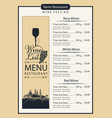 wine list with wine glass grapes and landscape vector image vector image