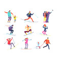 winter sports people adult and children in winter vector image vector image