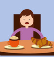 young happy girl sitting eating breakfast on table vector image vector image