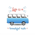 Summer time background with hippie van vector image