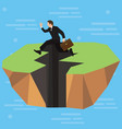 a businessman high-jumps over a long jagged vector image