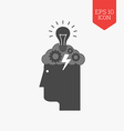 Head with storming cloud and lightbulb icon vector image