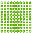 100 boxing icons hexagon green vector image vector image