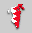 3d isometric map bahrain with national flag