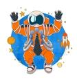 an astronaut in orange space suit vector image vector image