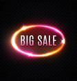 big sale neon text design template on transparent vector image
