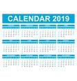 calendar 2019 year in simple style calendar vector image