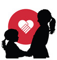 children silhouette with red heart vector image