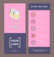 cocktails menu cover design with list of drinks vector image