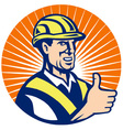 construction hardhat thumb up vector image vector image