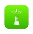cristo redentor icon green vector image vector image