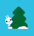 cute rabbit looks out from behind a tree funny vector image
