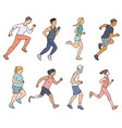 diverse age and body shape marathon runners vector image vector image