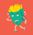 fast food or french fries on the run vector image vector image