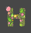 floral summer letter h flower capital wedding vector image