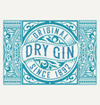 gin label with floral frame vector image vector image