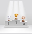golden and silver and bronze trophy cups stand on vector image