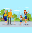 granddaughters meet grandparents flat vector image