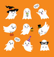 halloween set cute funny ghosts vector image vector image