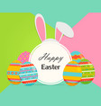 Happy easter banner with eggs and rabbit ears