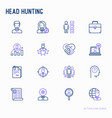 head hunting thin line icons set vector image vector image