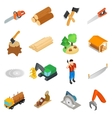 Lumberjack icons set isometric 3d style vector image vector image