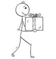 man walking and holding large gift present box vector image