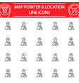 map pointer line icon set gps and location vector image vector image