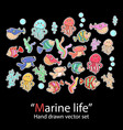 marine lifefish setfashion patch badges vector image