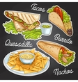 Mexican food on a black board vector image vector image