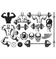 monochrome elements for bodybuilding vector image