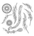 monochrome set tribal decorative objects vector image