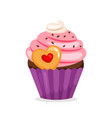 muffin with pink cream and cookie vector image