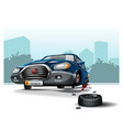 navy color cartoon car stays on jack with broken vector image vector image