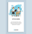office work man and woman sitting table slider vector image vector image