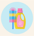 plastic bottle of cleaning product and brush vector image