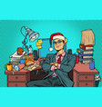 pop art businessman christmas workplace vector image vector image