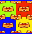 seamless pattern set with hot dog cute fast food vector image vector image