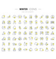 set line icons winter vector image vector image
