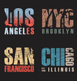 set of us cities t-shirt designs vector image