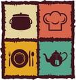 set vintage kitchen elements labels vector image vector image