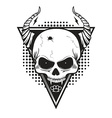 Skull with horns on triangle background vector image vector image