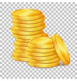 stack of gold coins on transparent background vector image vector image
