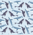 tender marine blue pattern with whales vector image