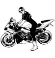 woman biker on motorcycle vector image vector image