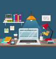 work desk with laptop vector image vector image