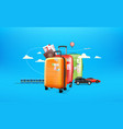 world travel concept travel baggage and different vector image